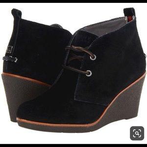 Sperry Harlow Black Suede Wedge Booties Size 8